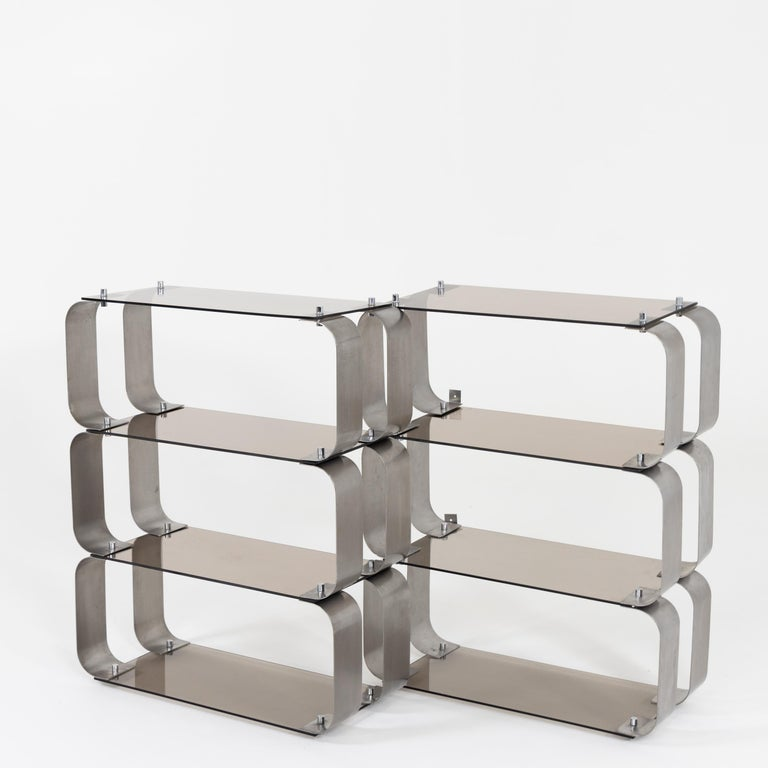Steel Shelves, Probably Italy, 20th Century For Sale