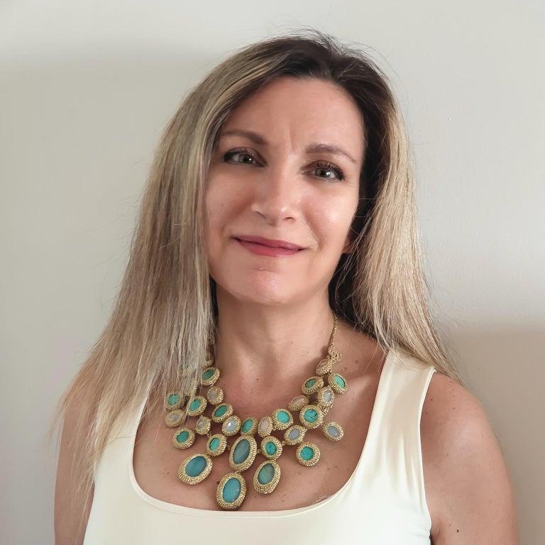 Women's Shenhav Amazonites Turquoises Oscar night Crochet Statement Collar Necklace For Sale