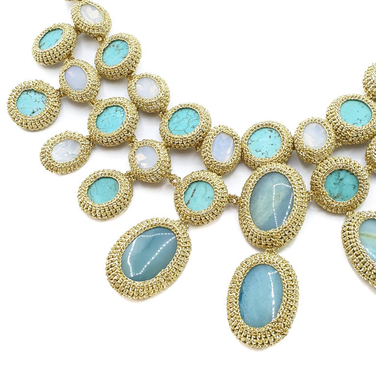 Shenhav One of a Kind crochet , statement collar necklace. This necklace was inspired by  the vintage Van Cleef and Arpels necklace that Eva Mendes wore at the Golden Globes 2009. It is crochet with Amazonites, Turquoises and crystals.   The