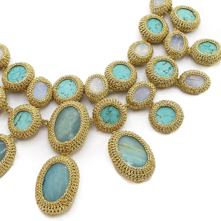 Contemporary Shenhav Amazonites Turquoises Oscar night Crochet Statement Collar Necklace For Sale