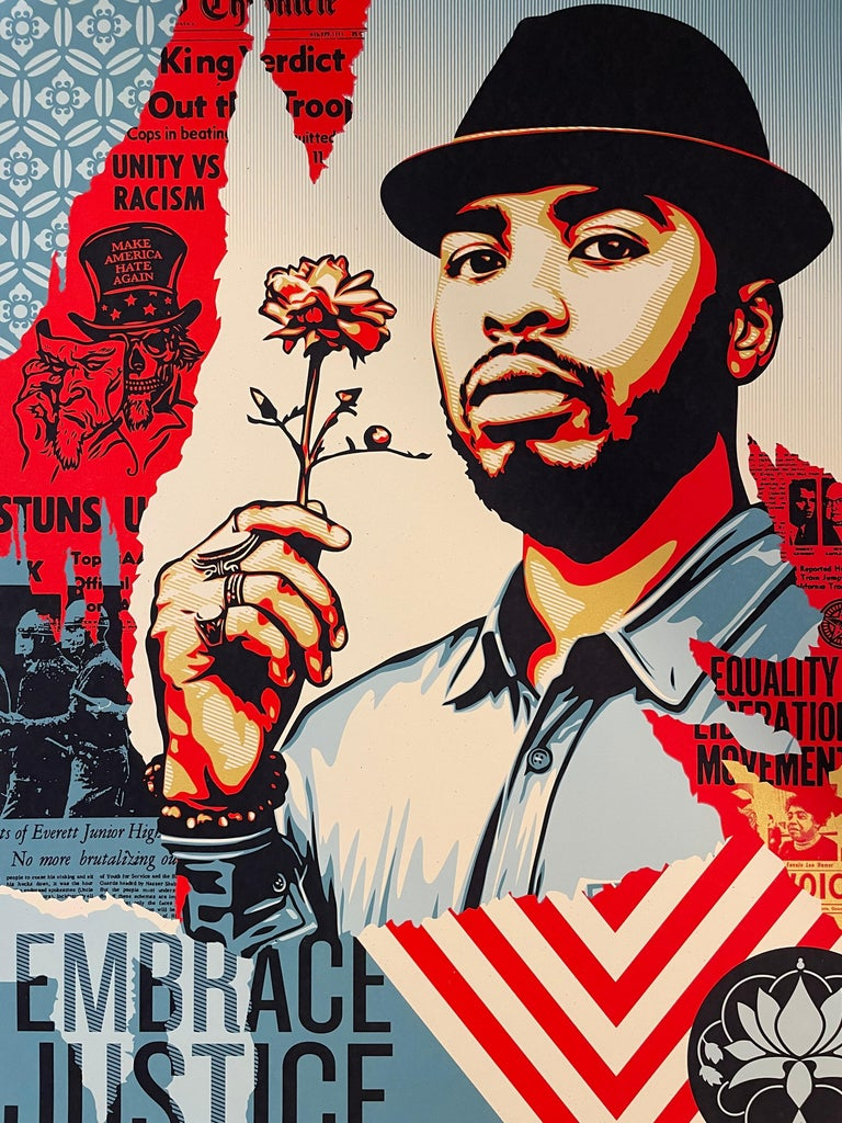 Signed by both Shepard Fairey and Arlene Mejorado.  A portion of the proceeds benefited Black Lives Matter and the Immigrant Bail Fund. Photograph by Arlene Mejorado