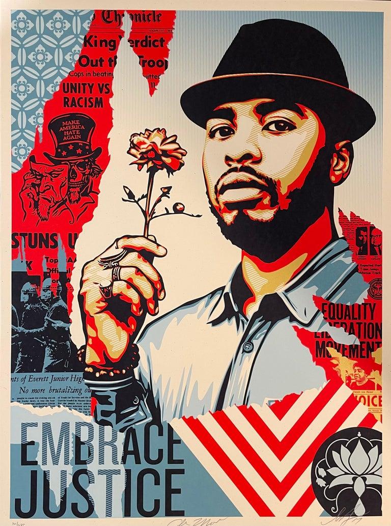 Embrace Justice Shepard Fairey Print Black Lives Matter Signed Numbered Pop Art - Gold Portrait Print by Shepard Fairey