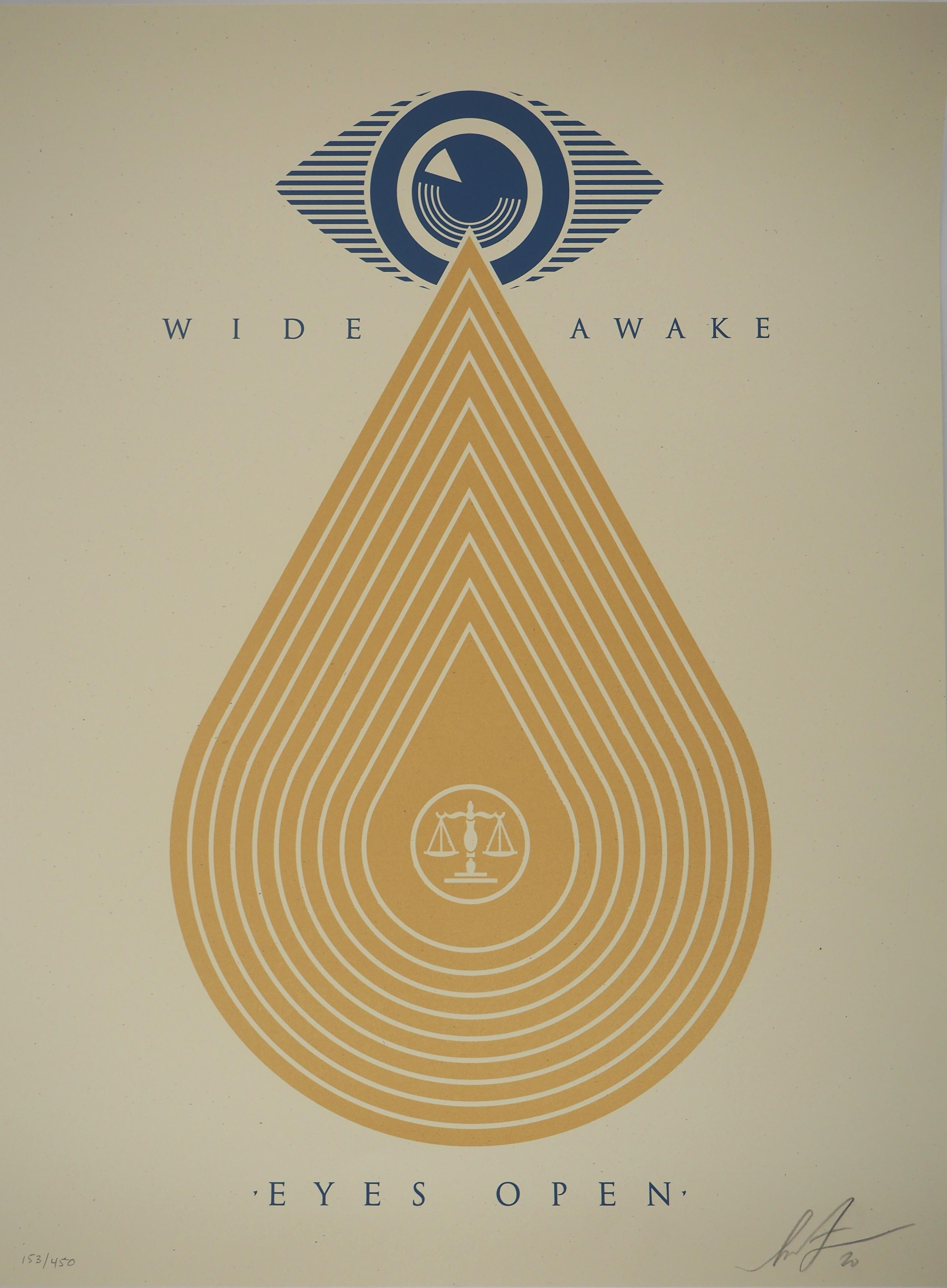 Eyes Open : Wide Awake (Justice) - Original Screenprint, Handsigned