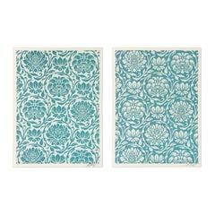 Floral Harmony (Light Blue Yin/Yang), Set of Silkscreens, Street Art, Obey Giant