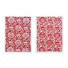Floral Harmony (Red Yin/Yang), Set of Silkscreens, Street Art, Obey Giant