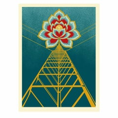 Flower Power Print By Shepard Fairey Singed & Numbered Gold Metallic Inks Obey