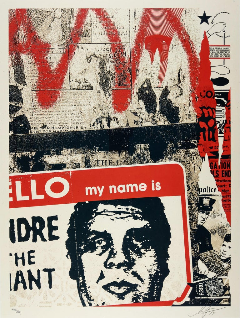 """Hello My Name Is. 18 x 24 inches. Screenprint on cream Speckletone Paper. 18 x 24 inches. Signed by Shepard Fairey. Numbered edition of 550.   From the Artist - """"I have been looking back through art and photos from my 30 year history as I work on"""