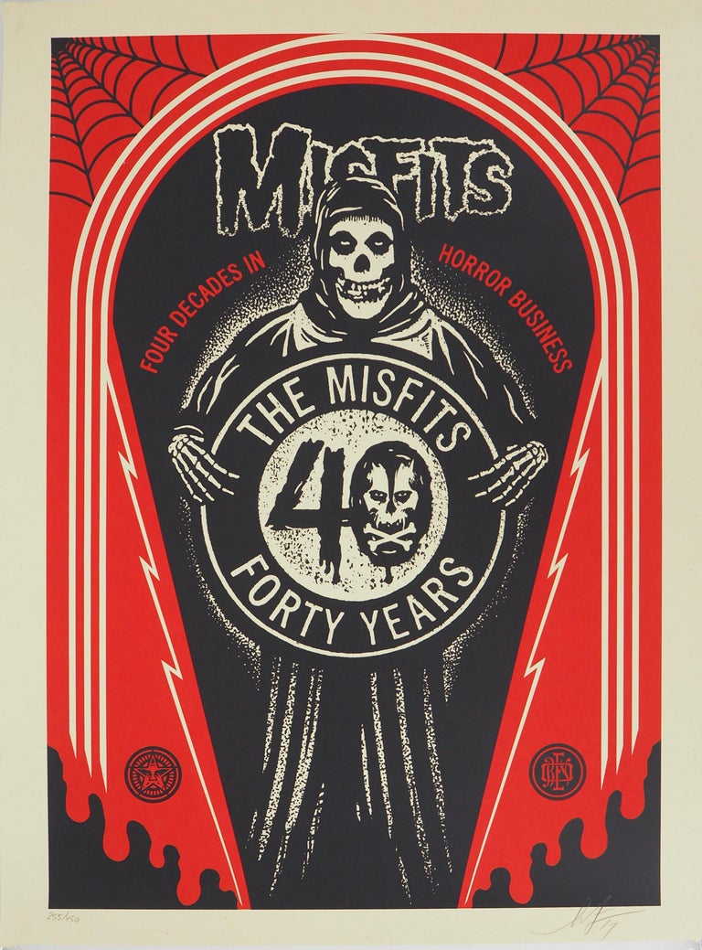 Shepard Fairey Figurative Print - Misfits, For Decades in Horror Business - Handsigned and Numbered Print