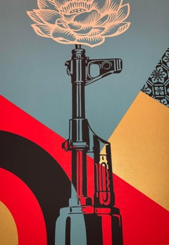 OBEY AK-47 LOTUS Shepard Fairey SIGNED & Numbered Obey Giant Vietnam War Peace