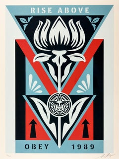Obey Deco Flower (Blue, Black, Red) Obey - Shepard Fairey Street Art Print