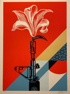 Obey Giant AR-15 Lily Signed & Numbered Shepard Fairey Print Vietnam War Peace