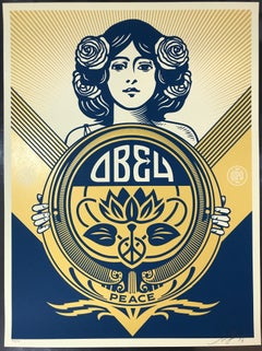 Obey Giant Golden Peace Girl Holiday Print 2016 Shepard Fairey Signed