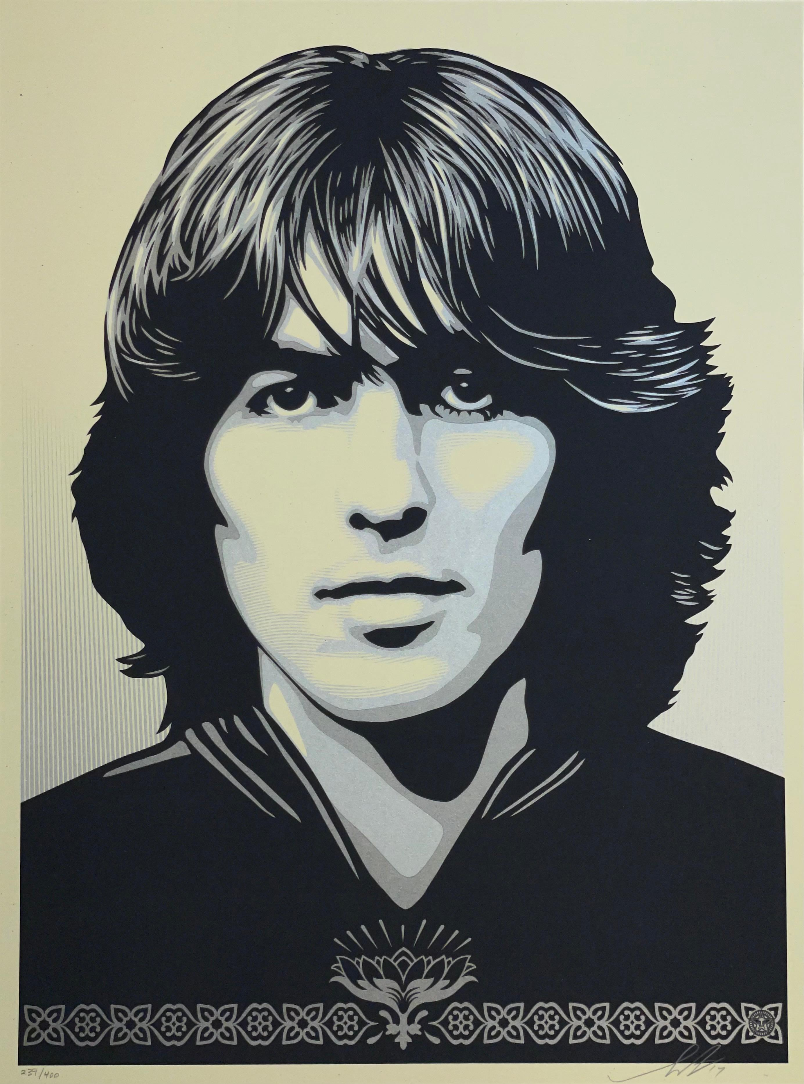 """""""Poster For George Harrison"""" Shepard Fairey Silkscreen Print Obey The Beatles"""