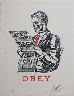 Race to the Bottom Letterpress, Obey, Shepard Fairey Activism Street Art Print