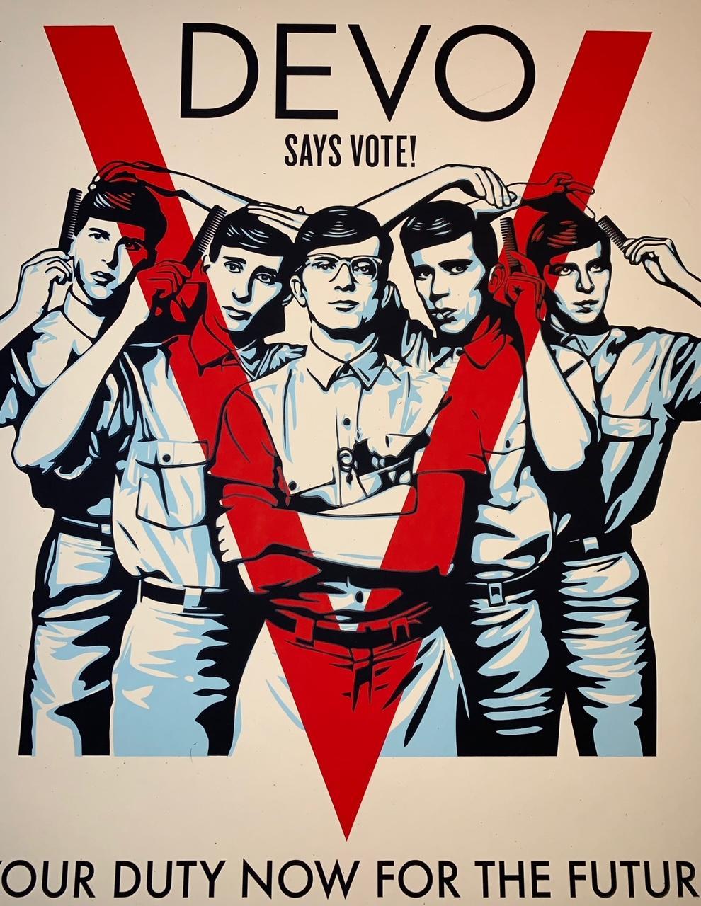 "Shepard Fairey ""DEVO"" Vote! Print Signed By Shepard Fairey, Mark Mothersbaugh"