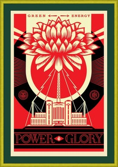 SHEPARD FAIREY  GREEN POWER  SIGNED AND DATED  GREEN FRAME