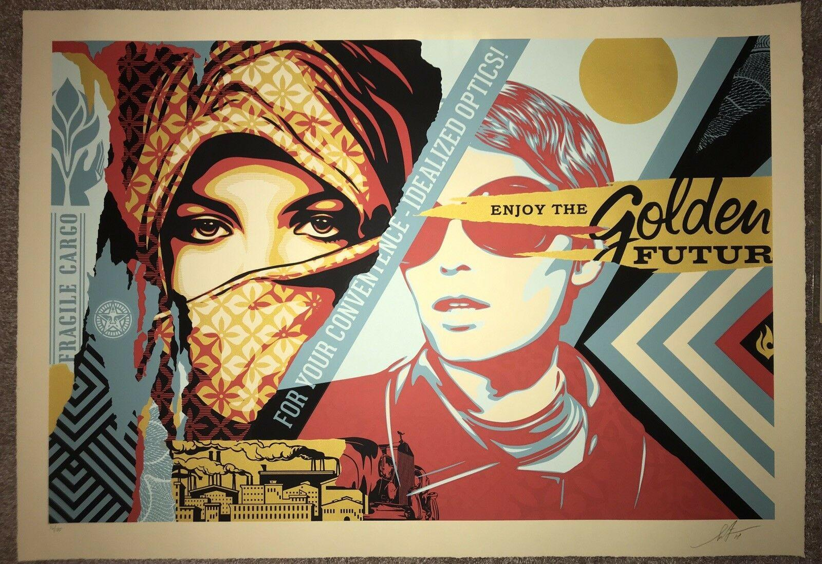 "Shepard Fairey Large Format Fine Art Print ""Golden Future For Some"" Street Urban"