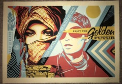 "Shepard Fairey Large Format Fine Art Print ""Golden Future For Some"" Street Urban"