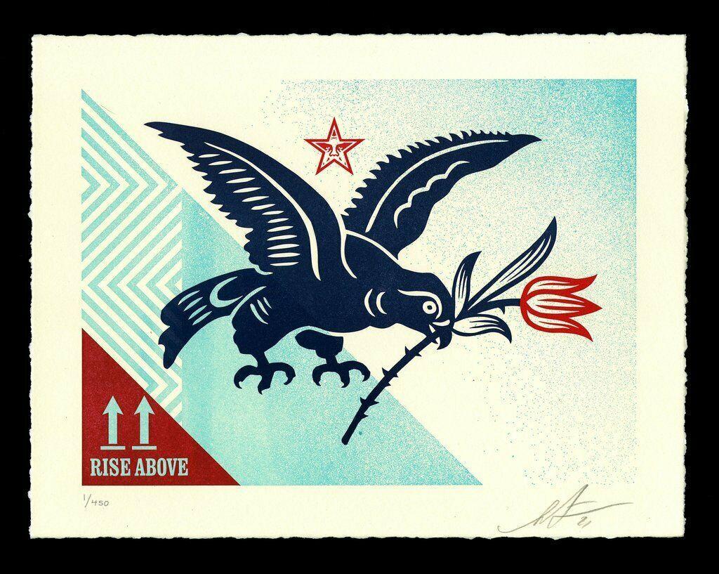 """Shepard Fairey Letterpress Print """"Rise Above Bird"""" Street Urban Contemporary Art"""