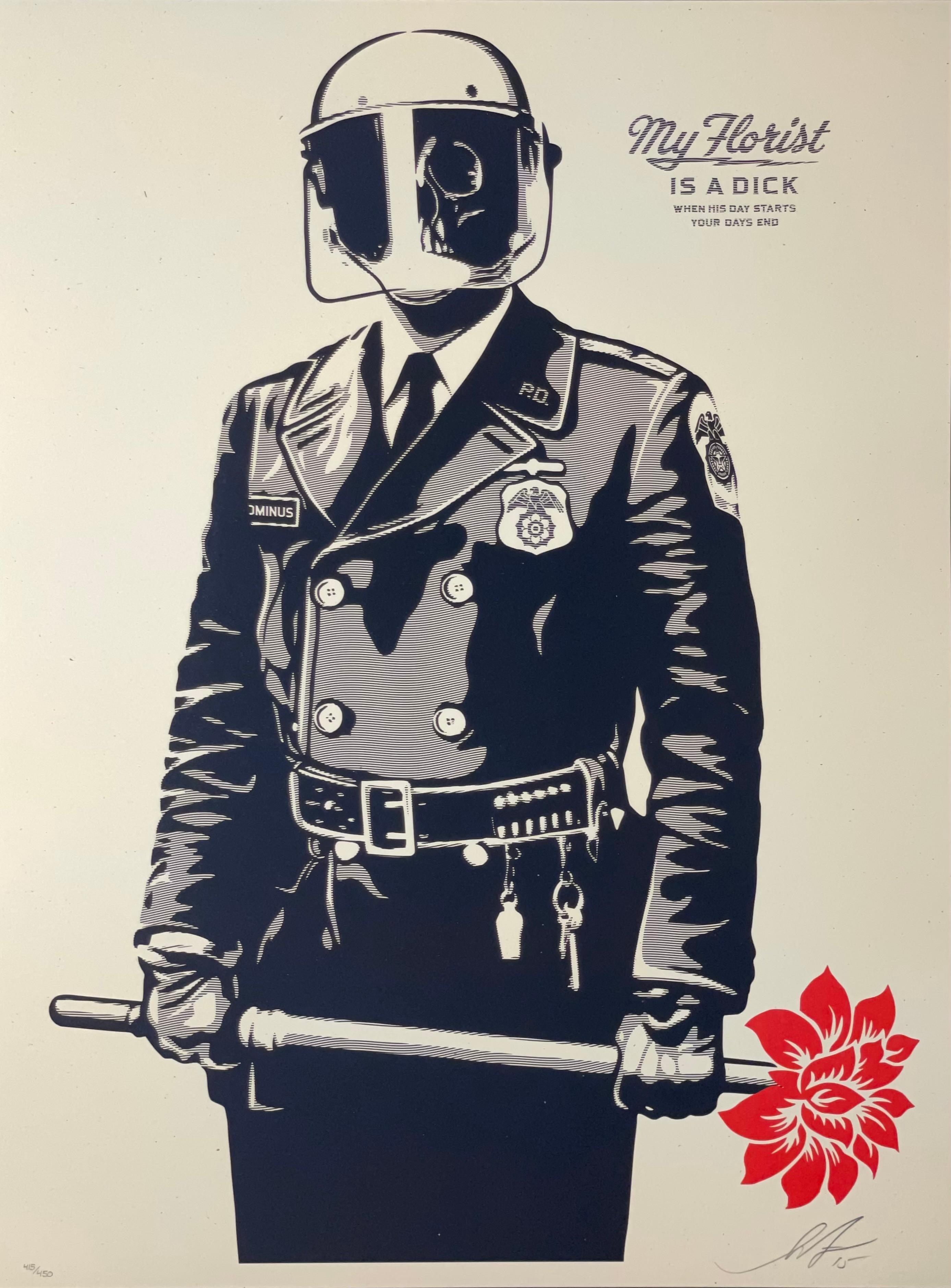 Shepard Fairey My Florist Is A DICK Print Obey Giant Police Urban Street Art