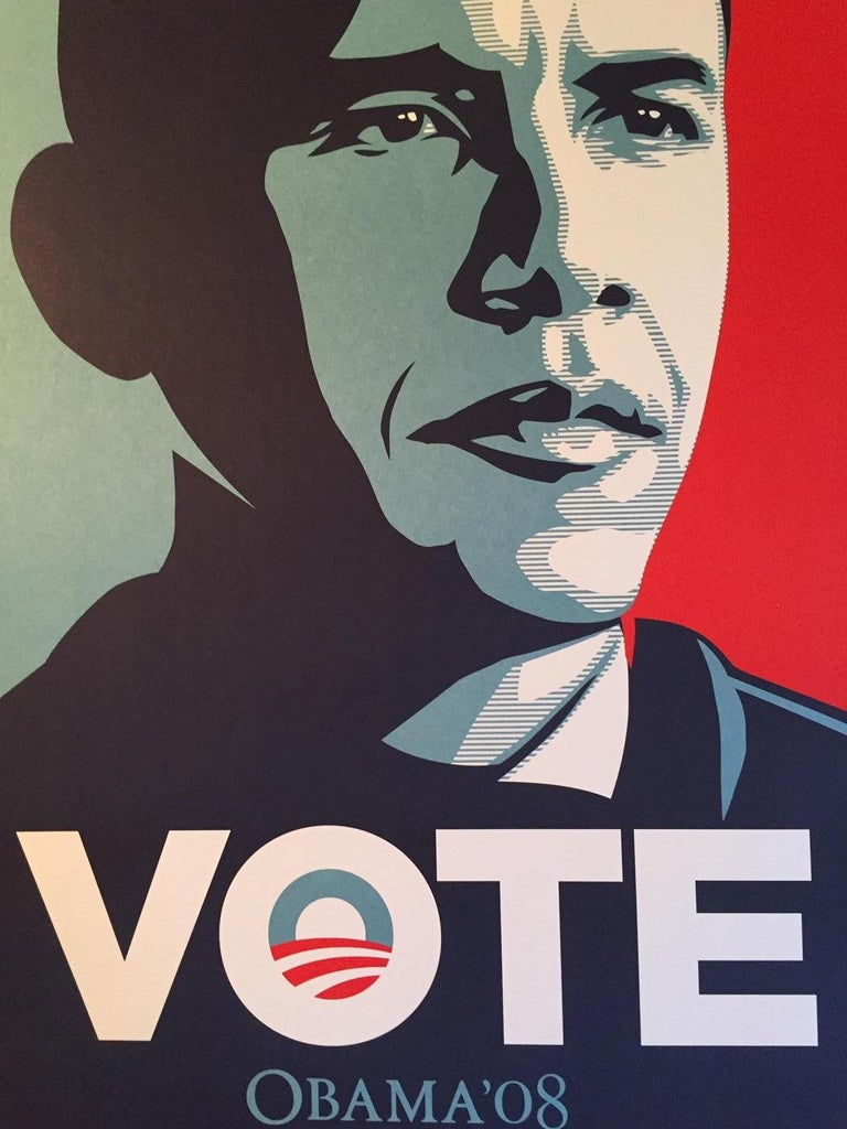 One of the many Iconic images by Shepard Fairey from the 2008 Campaign trail.  This is a print that will stand the test of time in both artist and political forums.    Edition