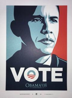 Shepard Fairey Obama Vote 2008 Campaign Print Artist's For Obama Political Art