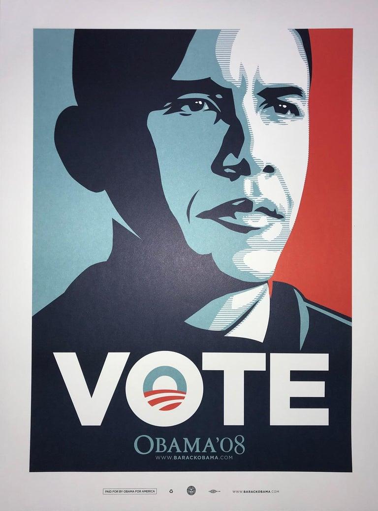 Shepard Fairey Obama Vote 2008 Campaign Print Artist's For Obama Political Art - Gray Portrait Print by Shepard Fairey