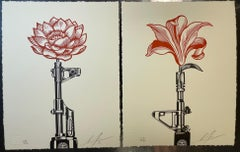 Shepard Fairey OBEY AK-47 LOTUS & AR-15 LILY Signed & Numbered Vietnam War Print