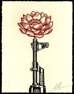 Shepard Fairey - Obey Giant - AK-47 Lotus - Letterpress - Urban Street Art Print