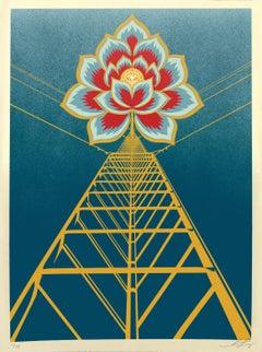 Shepard Fairey - Obey Giant - Flower Power: Blue -  Urban Graffiti Street Art
