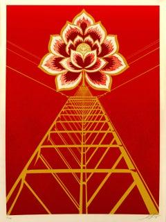 Shepard Fairey - Obey Giant - Flower Power: Red -  Urban Graffiti Street Art