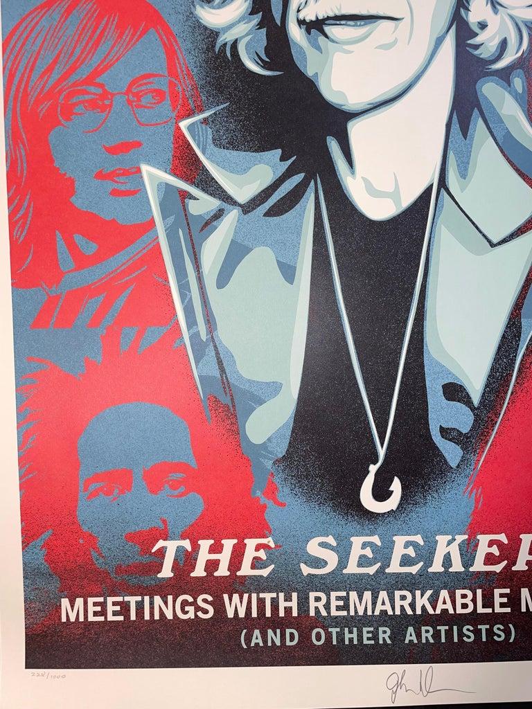 Shepard Fairey Obey Giant John Densmore: The Seekers The Doors Street Art Music  - Gray Print by Shepard Fairey