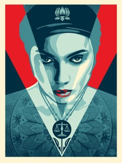 Shepard Fairey - Obey Giant - Justice Women: Red -  Urban Graffiti Street Art