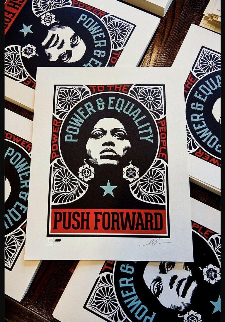 Shepard Fairey Obey Giant Push Forward Letterpress Print Black Life's Matter Pop For Sale 1