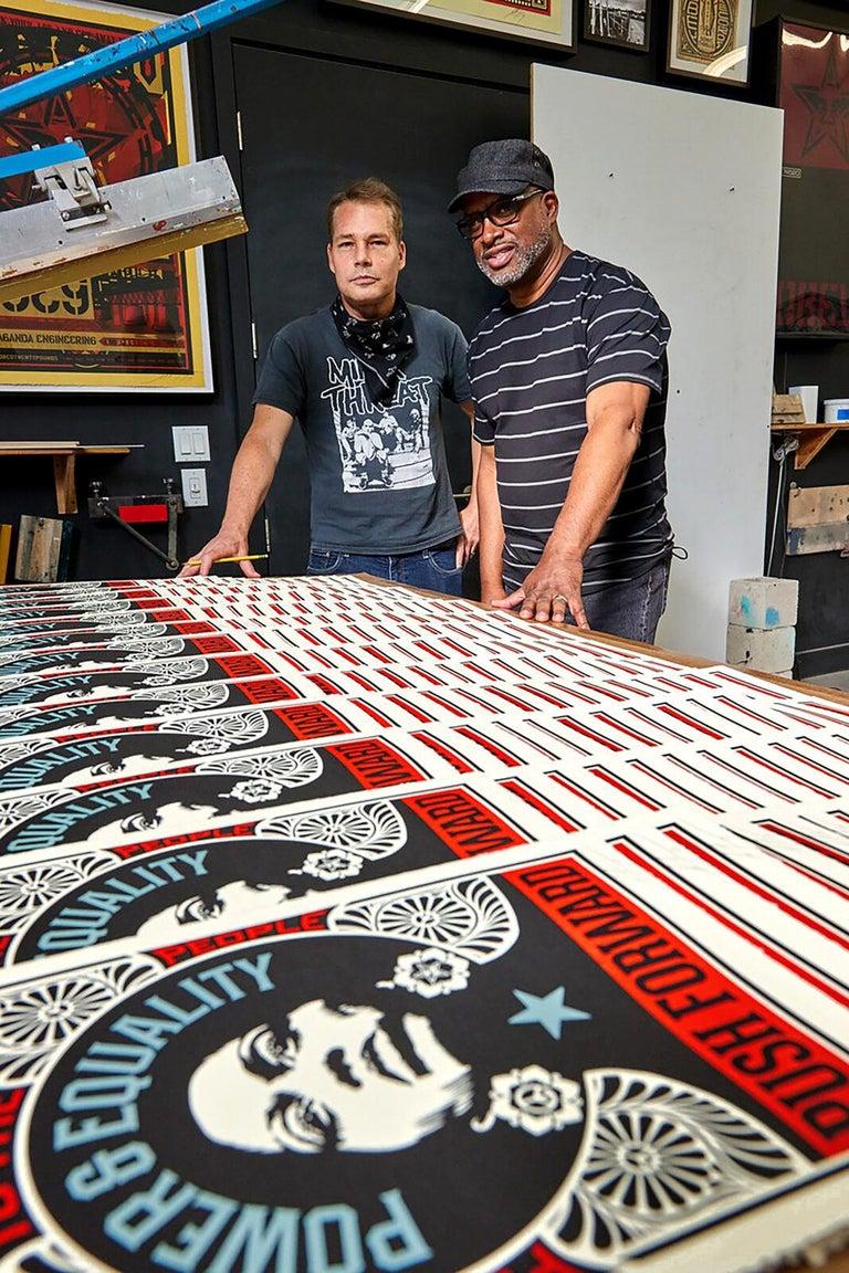 Shepard Fairey Obey Giant Push Forward Letterpress Print Black Life's Matter Pop For Sale 2