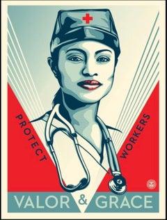 Shepard Fairey - Obey Giant - Valor & Grace Nurse - Urban Graffiti Street Art