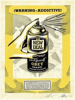 Shepard Fairey - Obey Giant - Warning Addictive - Urban Graffiti Street Art