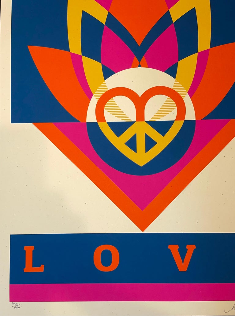 Shepard Fairey Obey Love Lotus Screen Print Signed & Numbered Contemporary Art  For Sale 3