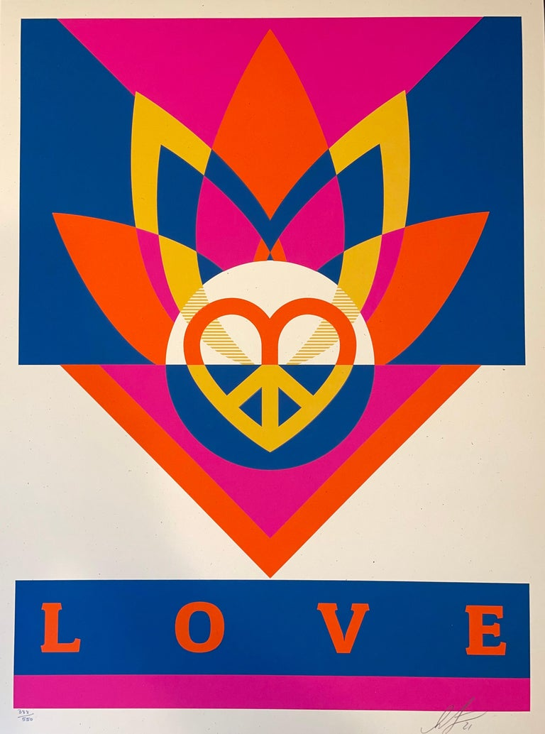 Shepard Fairey Obey Love Lotus Screen Print Signed & Numbered Contemporary Art  For Sale 4