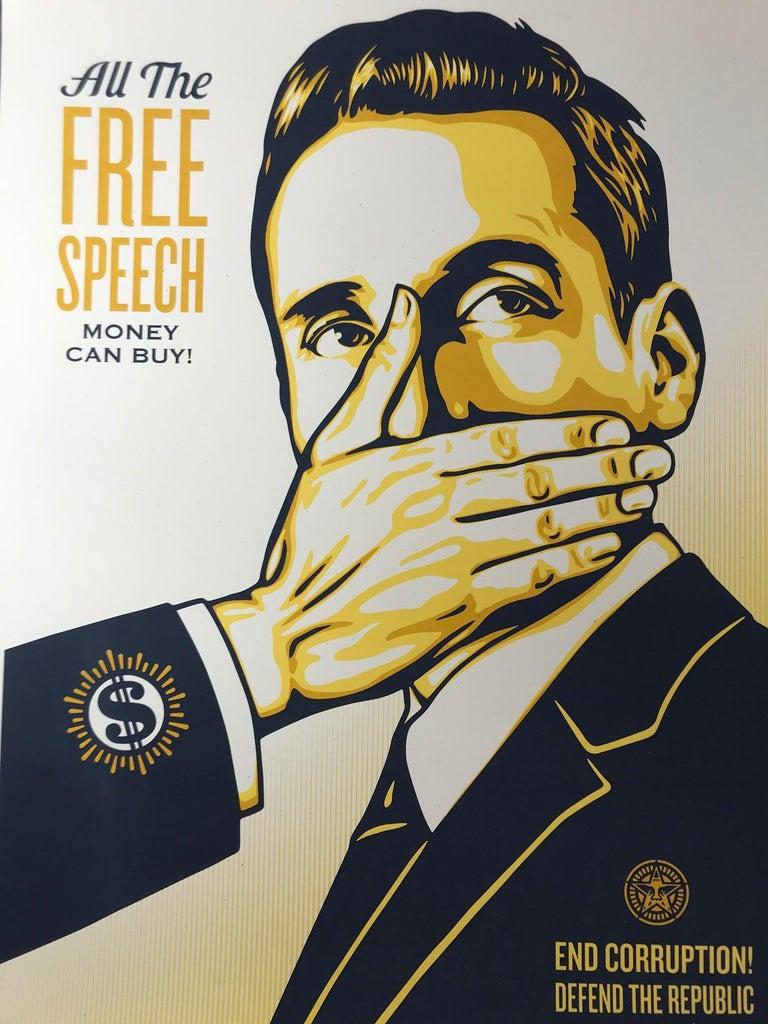 Shepard Fairey Print All The Free Speech Money Can Buy 2016 Street Art Pop Art For Sale 2