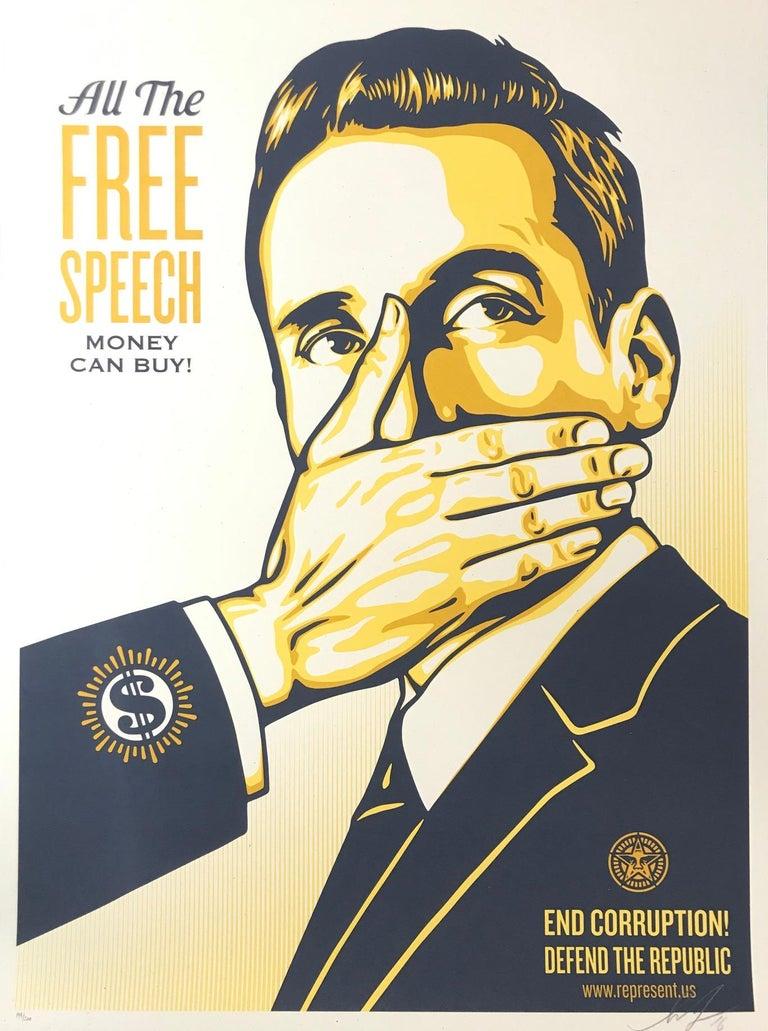 Shepard Fairey Print All The Free Speech Money Can Buy 2016 Street Art Pop Art - Black Portrait Print by Shepard Fairey