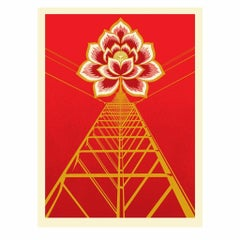 Shepard Fairey Print Flower Power Red Screenprint Signed & Numbered Obey Giant