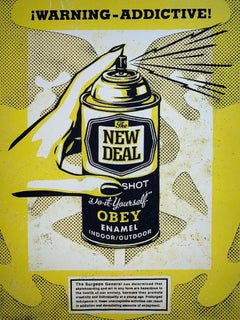"Shepard Fairey Print ""Warning Addictive"" Spray Print Screen Print Pop Art Street"