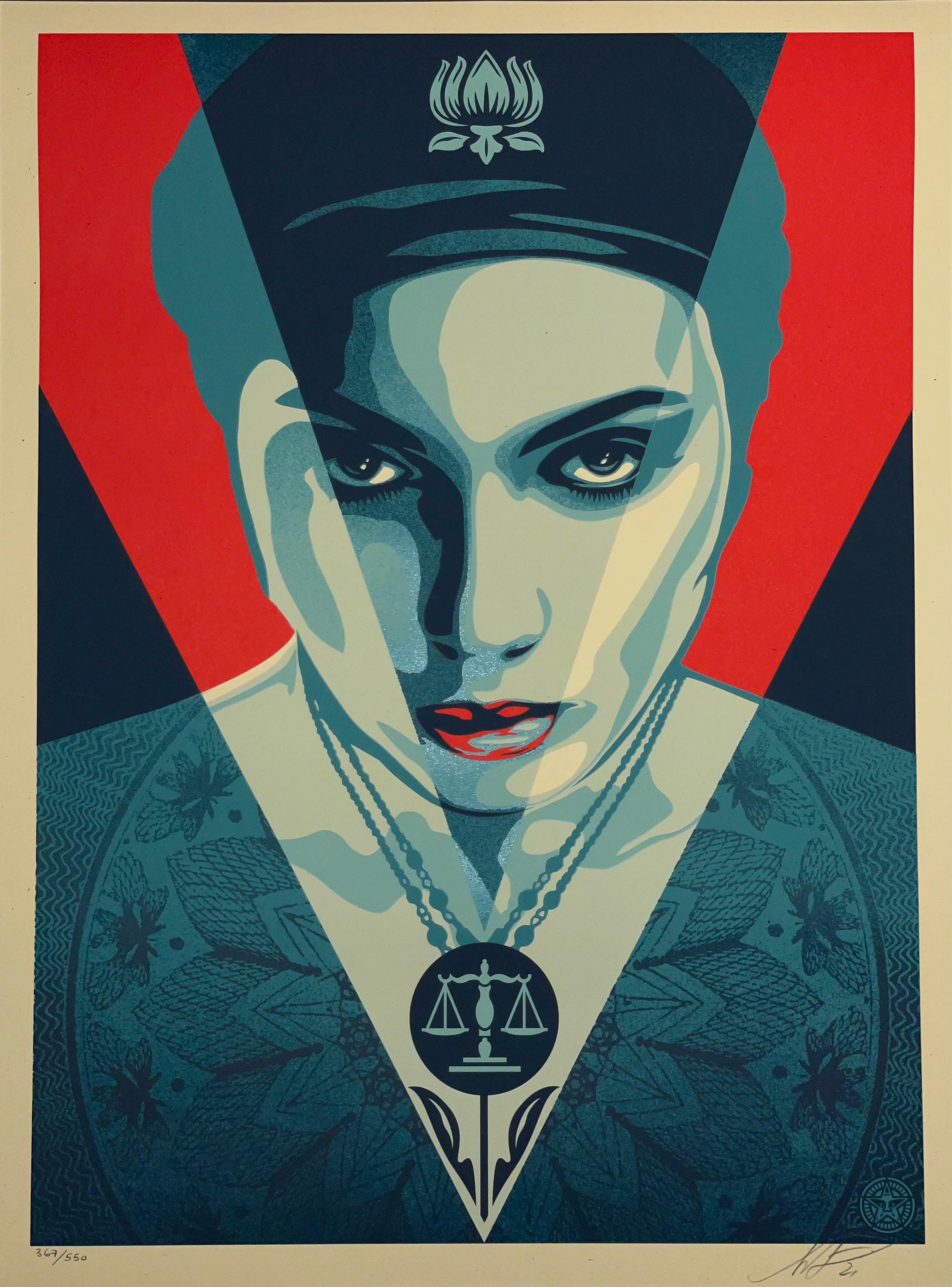 Shepard Fairey Signed Oil Lotus Woman Red Edition Street Art Contemporary Obey