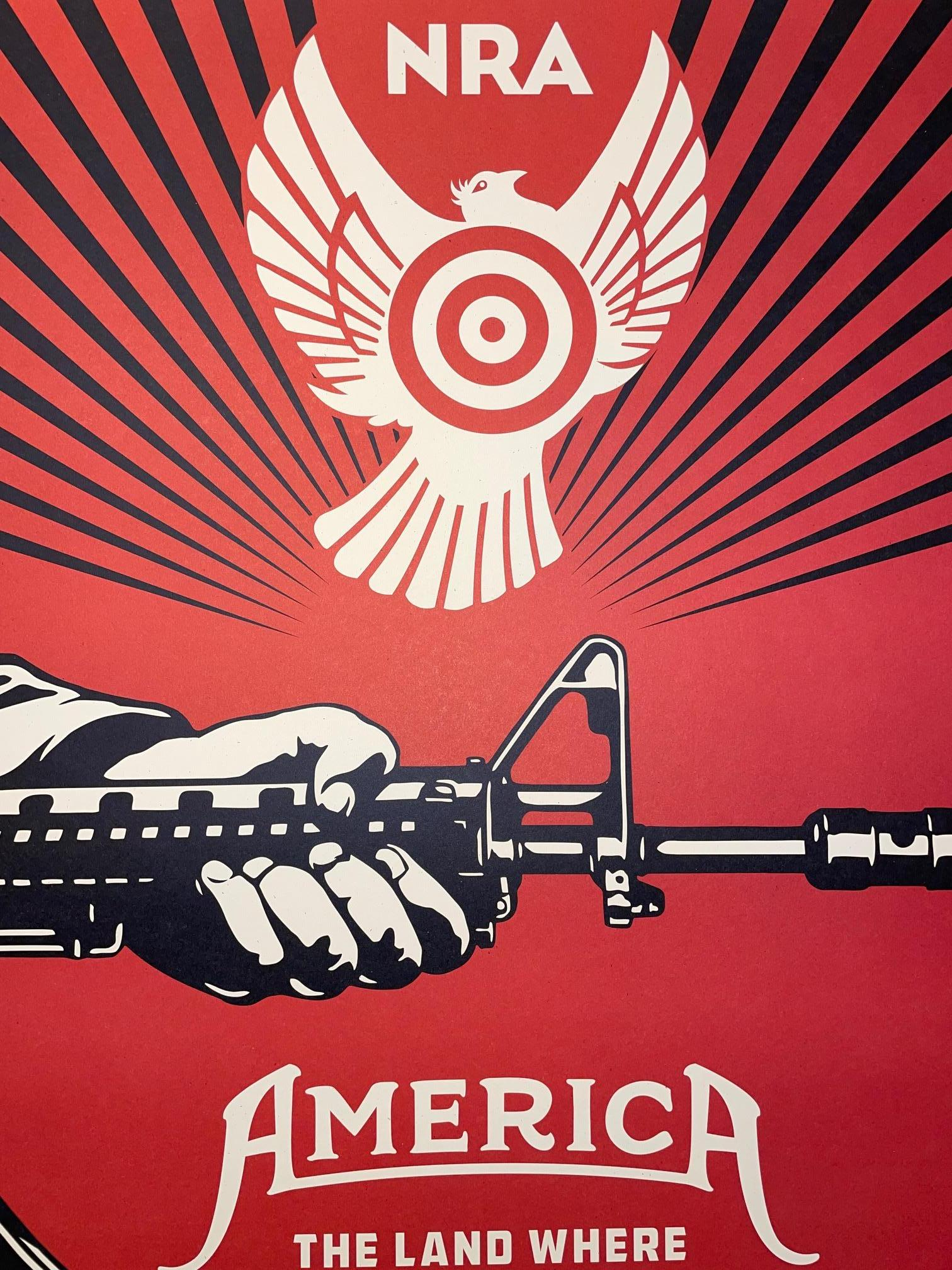 Shepard Fairey Signed Print 2013 God Saves & Satan Invests Street Art Guns Urban