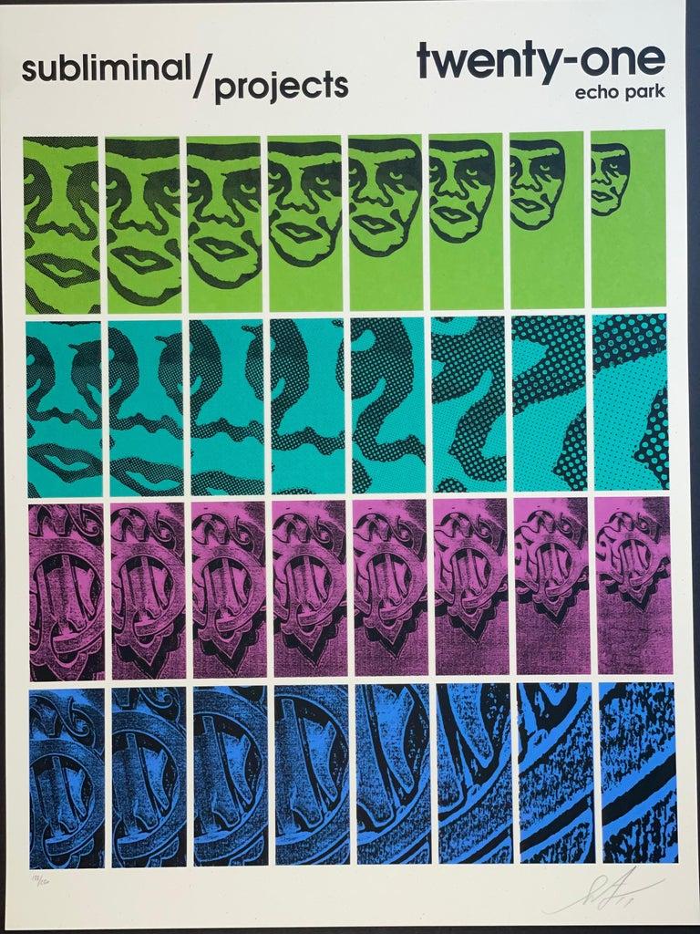 Shepard Fairey TWENTY-ONE Print Obey Giant Studio Number One Echo Park Urban Art For Sale 4