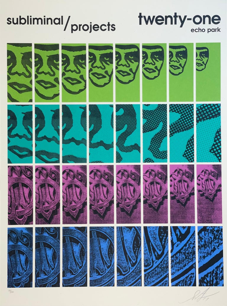 Shepard Fairey TWENTY-ONE Print Obey Giant Studio Number One Echo Park Urban Art For Sale 6