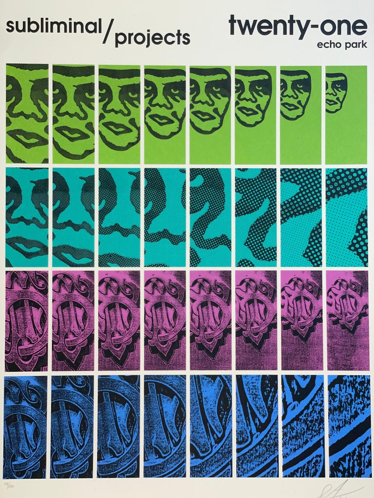 Shepard Fairey TWENTY-ONE Print Obey Giant Studio Number One Echo Park Urban Art - Purple Abstract Print by Shepard Fairey