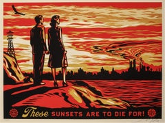 """Sunset to Die For, 2007"" SIGNED Screenprint in Colors on Speckled Paper"