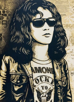 Tommy Ramone Collage, Gold, Obey - Shepard Fairey Street Art Print